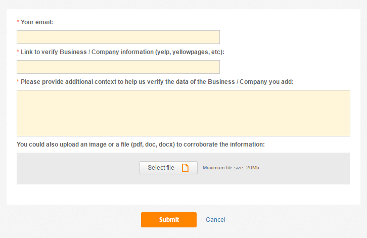 Fill the required information so we can verify the provided data